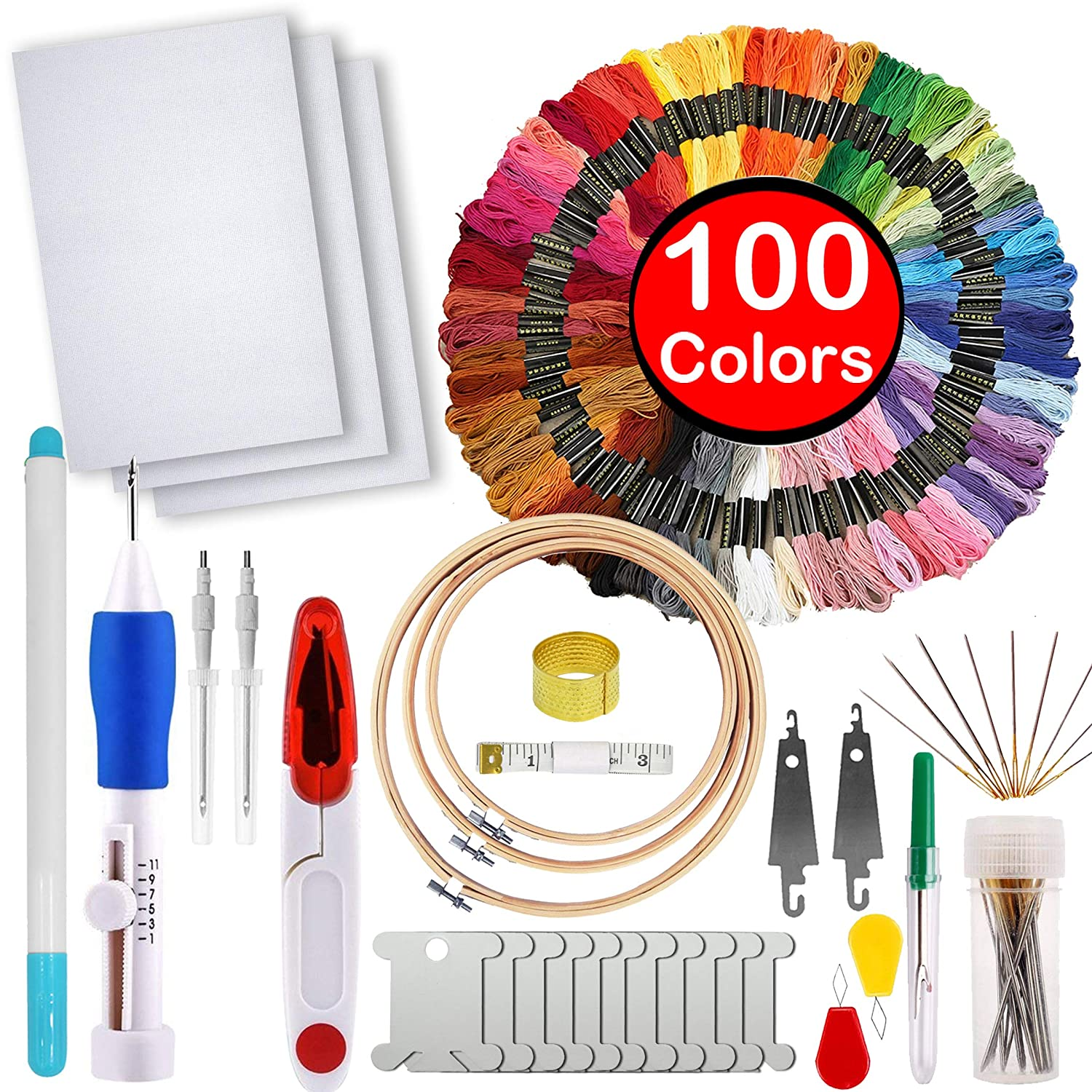 Full Range of Magic Embroidery Pen Punch Needle,3 Pieces Bamboo Embroidery Hoops,100 Color Threads and Cross Stitch Tool Kit, 2 Pieces 12 by 18-Inch 14 Count Classic Reserve Aida MDPQT