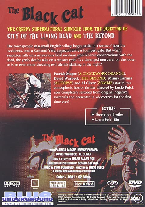 Amazon The Black Cat David Warbeck Patrick Magee Lucio Fulci