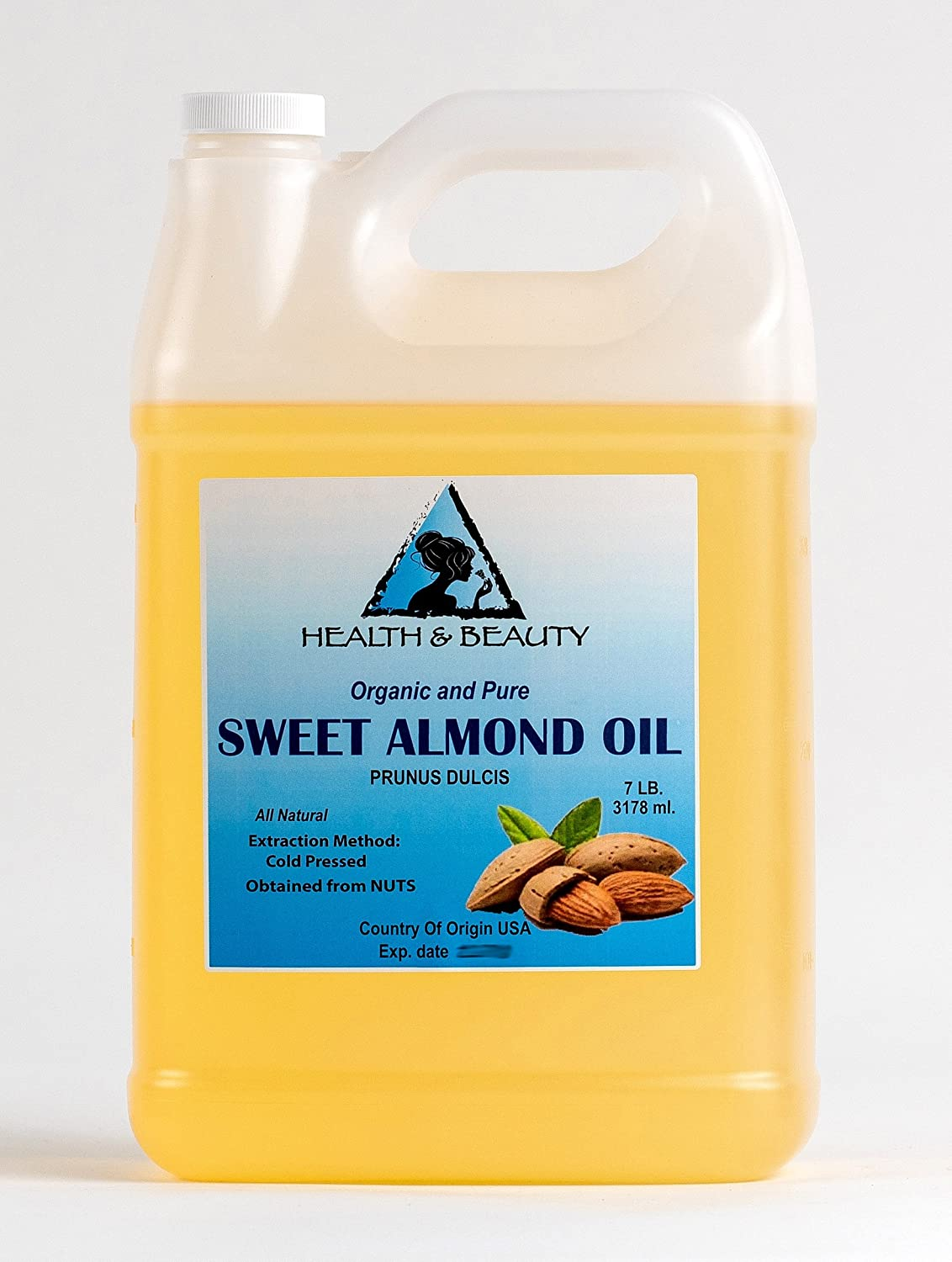 Sweet Almond Oil Organic Carrier Cold Pressed Refined 100% Pure 7 LB, 1 gal, 3178 ml H&B OILS CENTER Co.