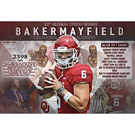 PosterWarehouse2017 OKLAHOMA SOONERS QUARTERBACK BAKER MAYFIELD 2017  HEISMAN WINNER COMMEMORATIVE POSTER