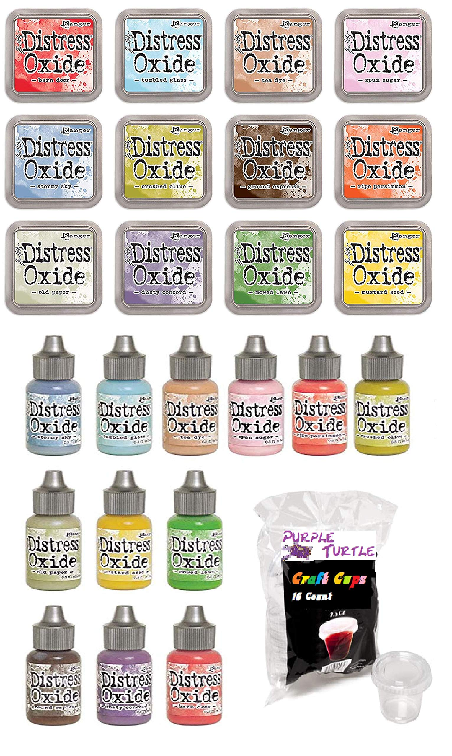 Ranger Tim Holtz Distress Oxide Ink Summer 2018-12 Ink Pad,12 Reinker and Purple Turlte Craft Cups Bundle