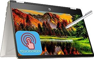 "HP Pavilion X360 14m 2-in-1 Convertible Laptop, 14"" FHD IPS Anti-Glare Micro-Edge Touchscreen Intel Core i5-8265U 16GB RAM 512GB SSD Type-C Backlit KB Fingerprint Win 10 HP Active Pen -Gold"