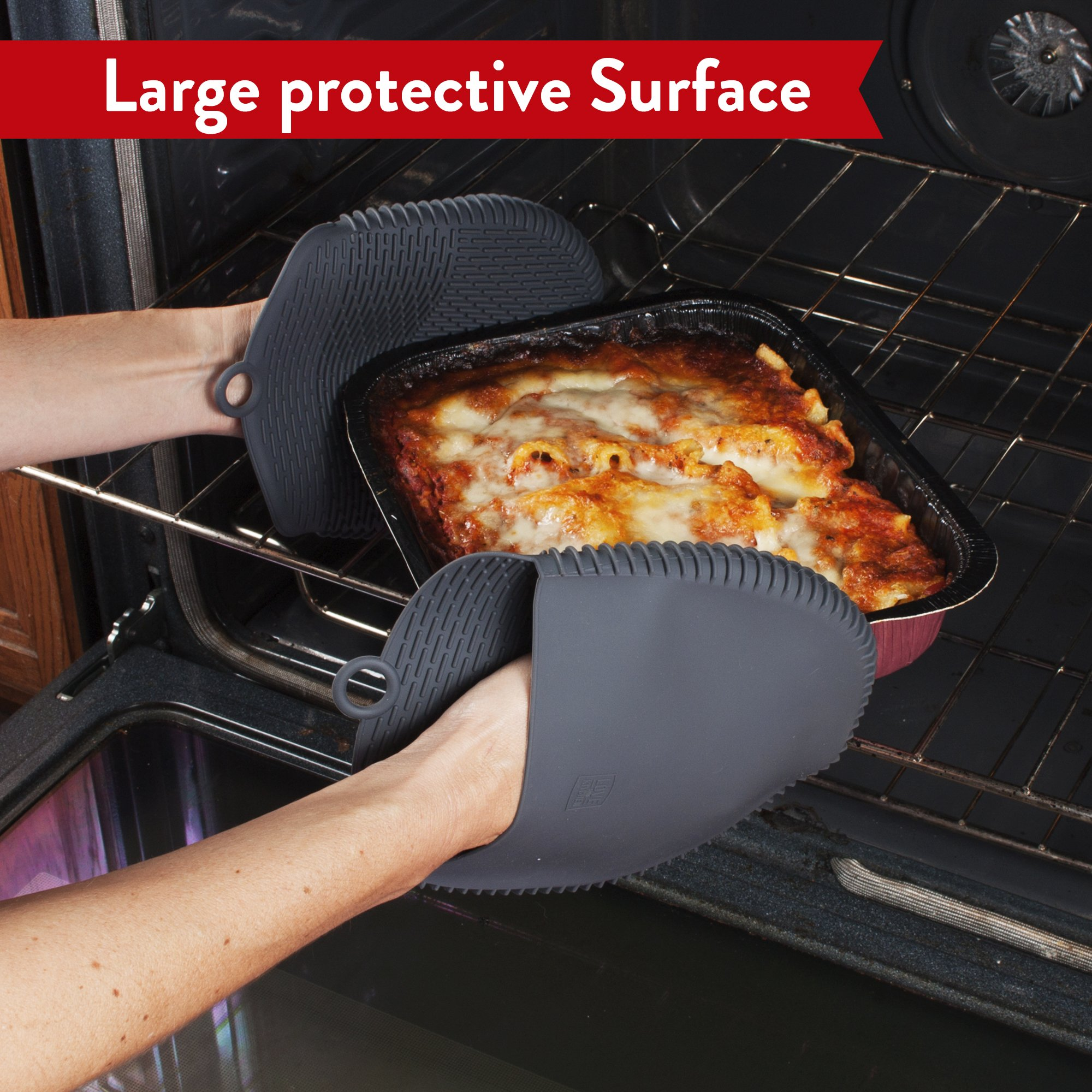 The Ultimate Pot Holders / Oven Mitts | 100% Silicone Mitt is Healthier Than Cotton & Easier to Clean, Won't Grow Mold or Bacteria | Unique Design Makes it Safe, Non-Slip & Flexible (Gray, Set of 2) by Love This Kitchen (Image #8)