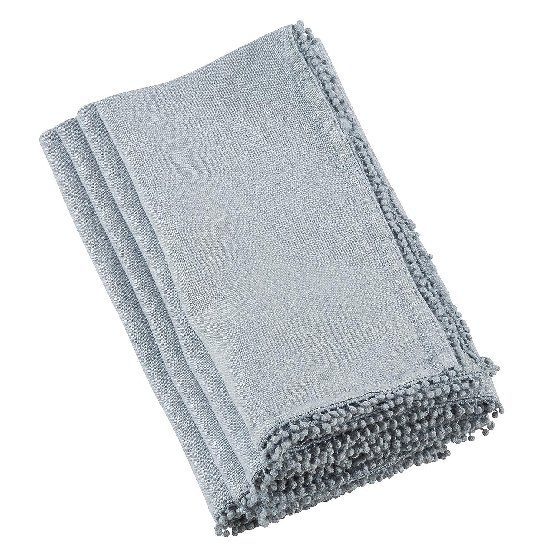 SARO LIFESTYLE 15062.BG1672B Pomponin Collection PomPom Design Table Runner 16 x 72 Blue-Grey