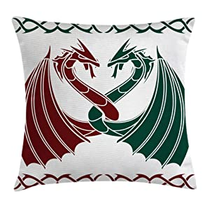 Ambesonne Celtic Throw Pillow Cushion Cover, Dragons Theme Design Mythical Early Medieval Scandinavian Celtic Castle Knights Print, Decorative Square Accent Pillow Case, 24 X 24 Inches, Green Red