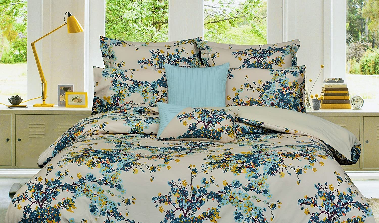 Tribeca Living Casablanca 5-Piece Cotton Floral Duvet Cover Set, Queen