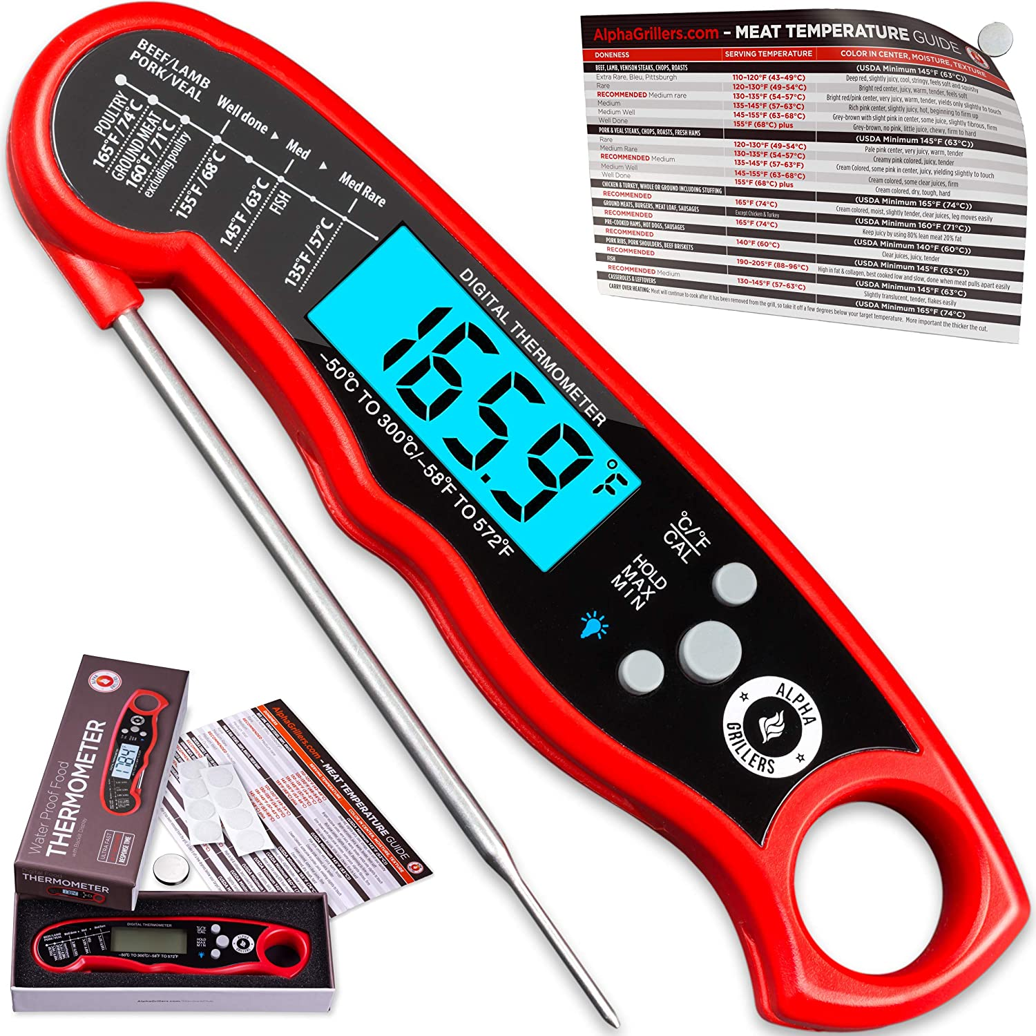Alpha Grillers Instant Read Meat Thermometer for Grill and Cooking. Best Waterproof Ultra Fast Thermometer with Backlight & Calibration. Digital Food Probe for Kitchen, Outdoor Grilling and BBQ!: Kitchen & Dining