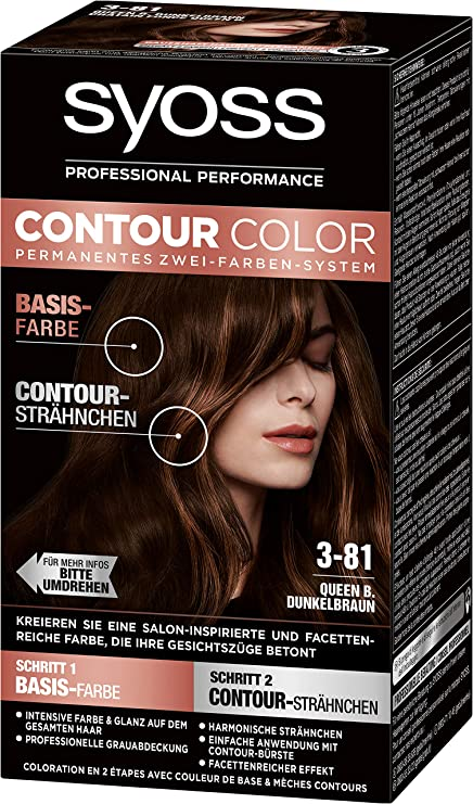SYOSS Contour Color Nivel 3 3-81 Queen B. Marrón oscuro, sistema permanente de dos colores, 1 unidad (183 ml)