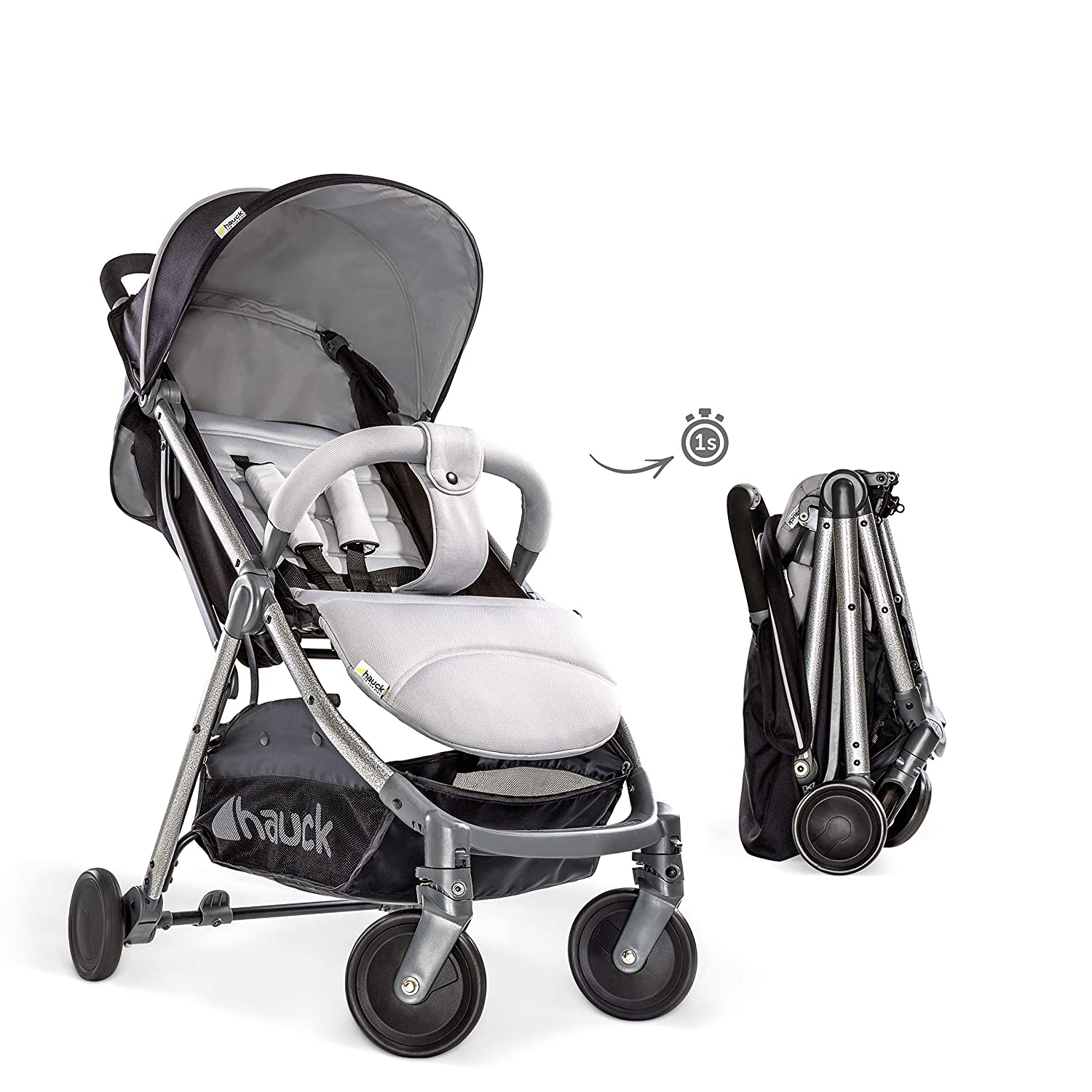 Extra Small Folding Lunar Compact Pushchair with Lying Position from Birth Up To 15 kg Lightweight One Hand Fold Hauck Swift Plus Carrying Strap