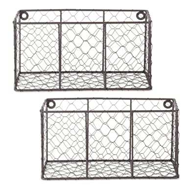DII Farmhouse Vintage Chicken Wire Wall Basket, Set of 2 Small, Rustic Bronze