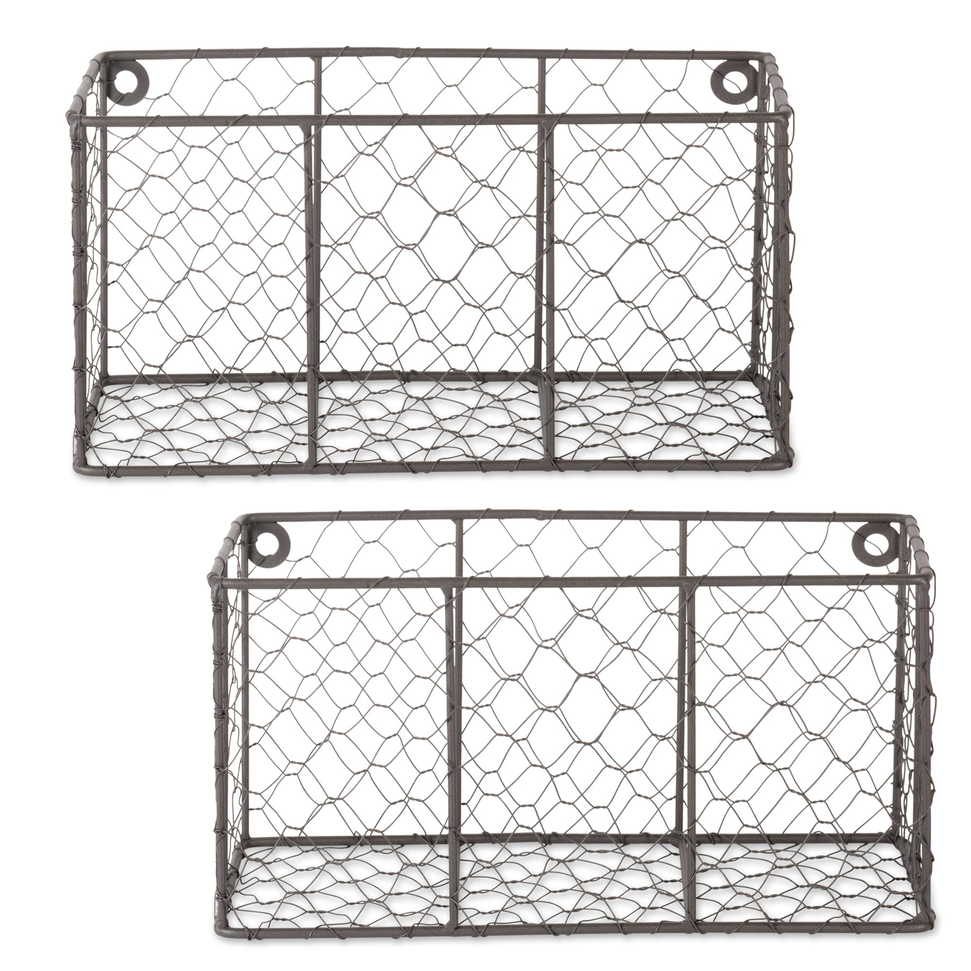 DII Z01929 Rustic Farmhouse Vintage Chicken Wire Wall Basket, Small (Set of 2), Bronze by DII (Image #1)