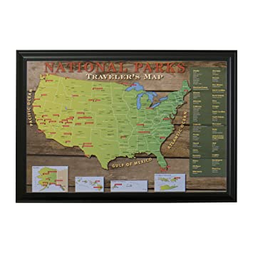 National Park Us Push Pin Travel Map With Black Frame And Pins 24 X 36