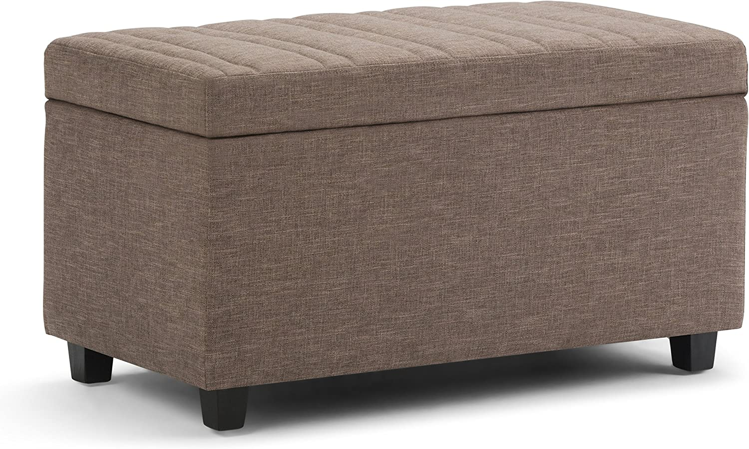 SIMPLIHOME Darcy 34 inch Wide Rectangle Lift Top Storage Ottoman Bench in Fawn Brown Linen Look Fabric, Footrest Stool, Coffee Table for the Living Room, Bedroom, and Kids Room, Contemporary