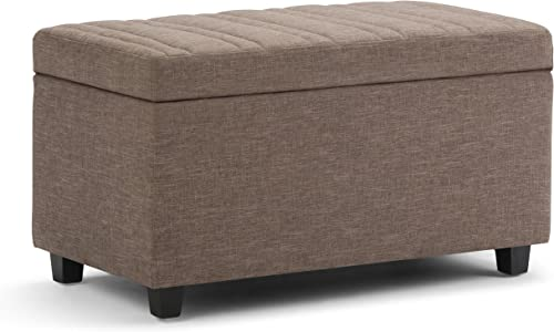 SIMPLIHOME Darcy 34 inch Wide Rectangle Lift Top Storage Ottoman Bench