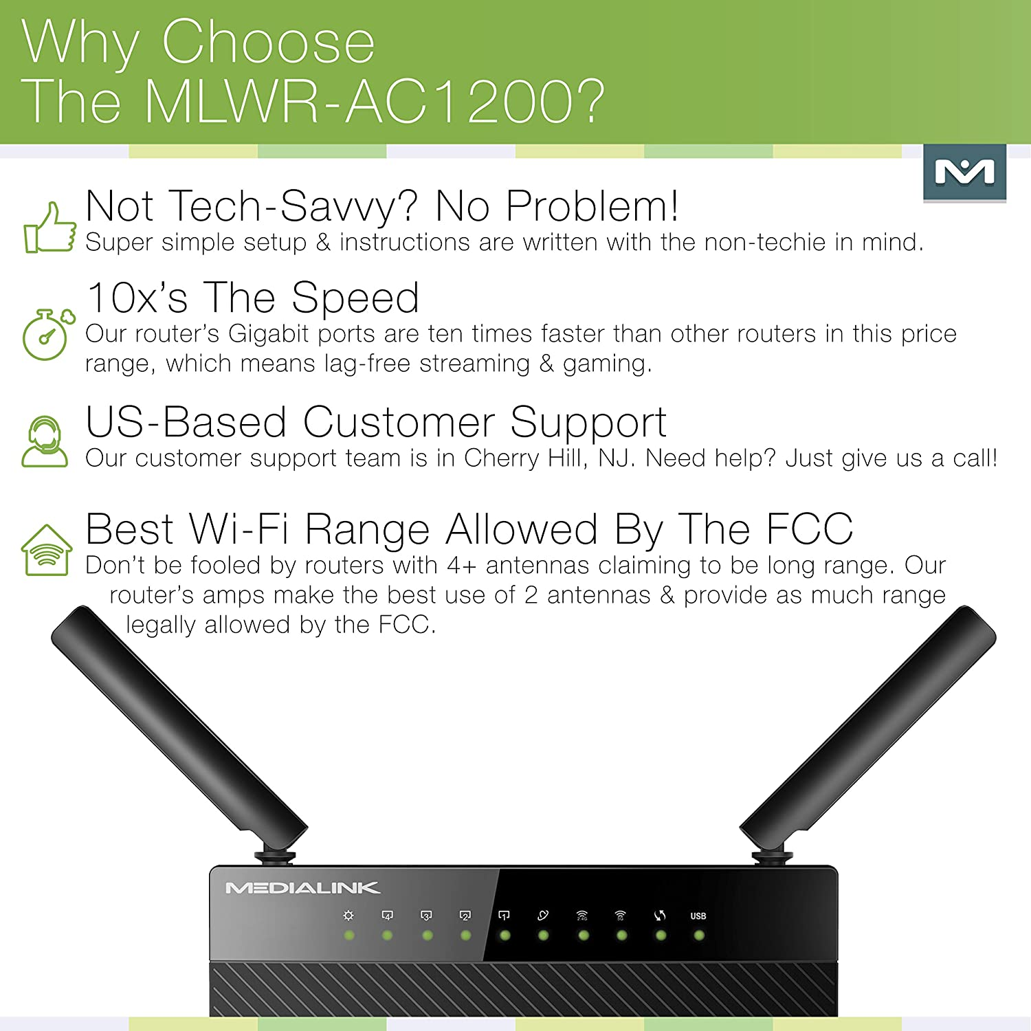 Amazon.com: Medialink AC1200 Wireless Gigabit Router - Gigabit (1000 ...