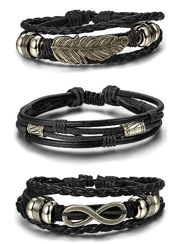 codes promo Meilleure vente comment chercher BESTEEL 3PCS Bracelet Cuir pour Homme Femme Tressé Corde Bracelet Infinité  Plume Vintage, Ajustable