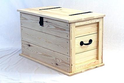 Hecho a mano madera de pino maciza Trunk lista para Pintar/A las ...