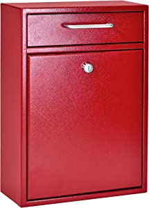 Mail Boss 7426 High Security Steel Locking Wall Mounted Mailbox Office Drop Comment Letter Deposit Box, Red
