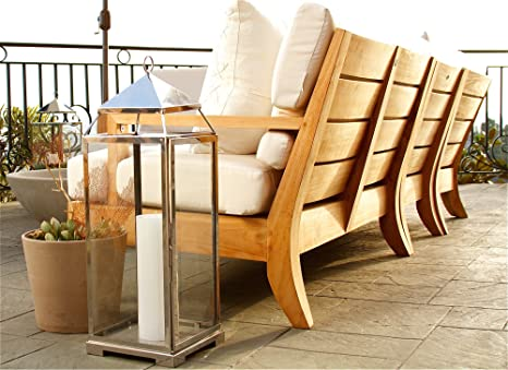 Amazon.com : New Luxurious 5 Piece Teak Sectional Sofa Set   2 Sofas(Left U0026  Right), 1 Lounge Armless Chair, 1 Corner Piece U0026 1 Coffee Table   Furniture  ...