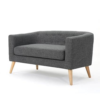Bron Yr Aur Button Back Mid Century Fabric Modern Loveseat (Grey)