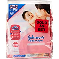 Johnson's Baby Skincare Wipes, 75ct (Pack of 3)