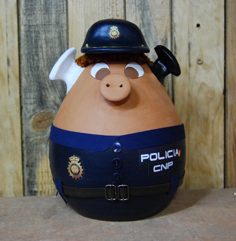 Cerdito hucha disfrazado de policia nacional