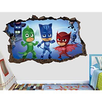 "Pj Masks Group Wall Decal Sticker - Kids Wall Decal Decor - Art 3D Vinyl Wall Decal - AH441 (Giant (Wide 50"" x 30"" Height)): Home & Kitchen"