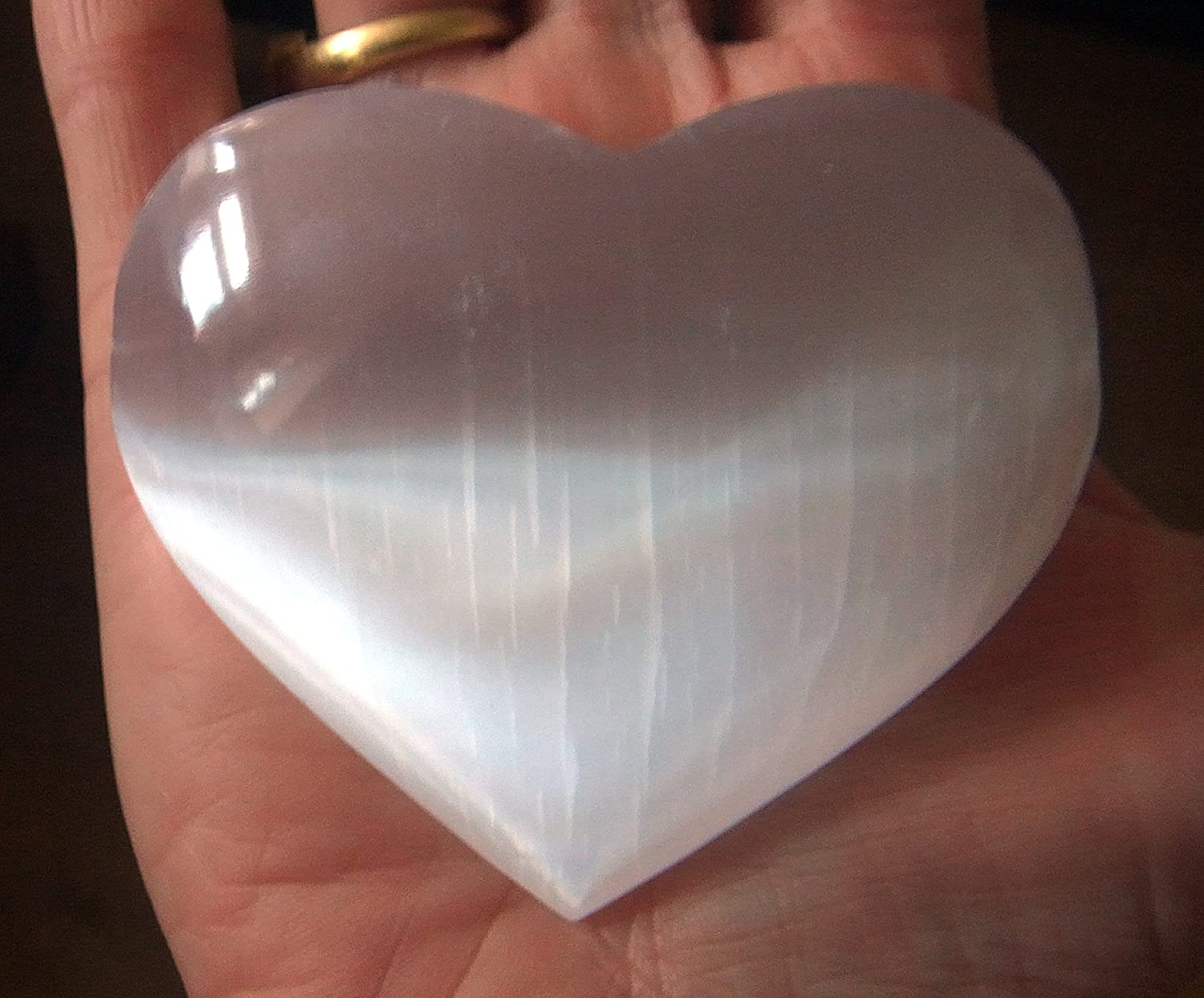SELENITE LARGE 80mm ANGELIC WHITE CRYSTAL PUFF HEART HEALING REIKI by Fossil Cavern BRAZIL