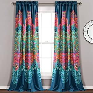 Lush Decor Boho Chic Room Darkening Window Curtain Panel Pair, 95