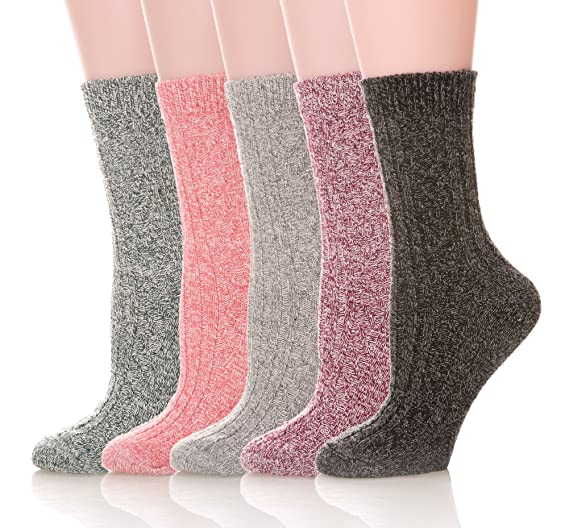 Womens 5 Pairs Thick Knit Warm Casual Wool Crew Winter Socks (5 Pack Solid  color