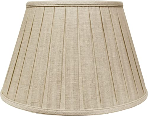 Cloth Wire Slant Linen Box Pleat Softback Lampshade in Oatmeal 18 in. Dia. x 11.5 in. H 2.35 lbs.