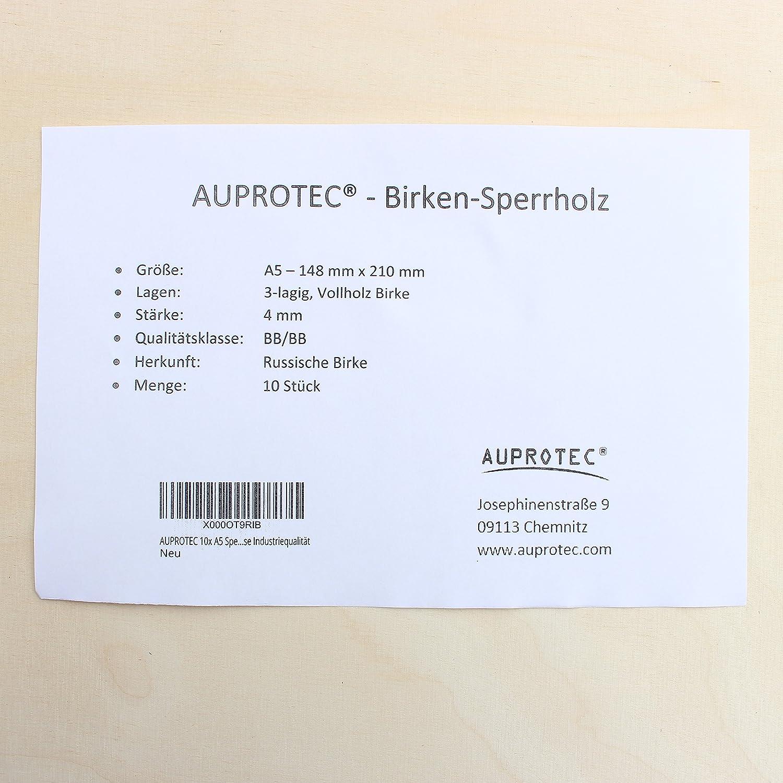 AUPROTEC 3x A5 Placas de madera 4mm Contrachapado de Abedul para manualidades bricolaje marqueter/ía contrachapada superior madera maciza 148 mm x 210 mm