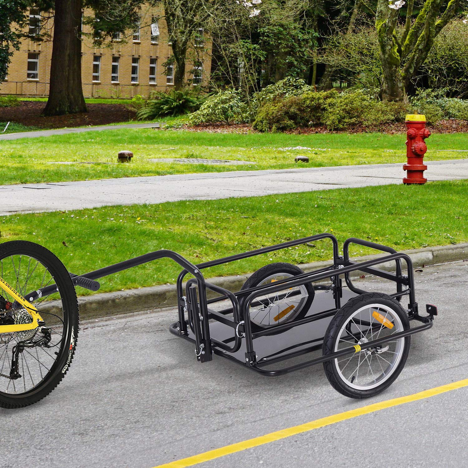Bike Cargo Storage Cart and Luggage Trailer with Hitch Folding Bicycle Black by Caraya (Image #3)