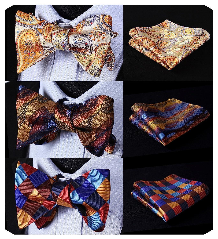 HISDERN 3pcs Mixed Design Classic Men's Self-Tie Bow tie & Pocket Square - Multiple Sets BA3001