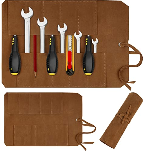 Pawia Leather Tool Roll Up Bag Woodworking Tools Organizer Wrench Chisel Holder