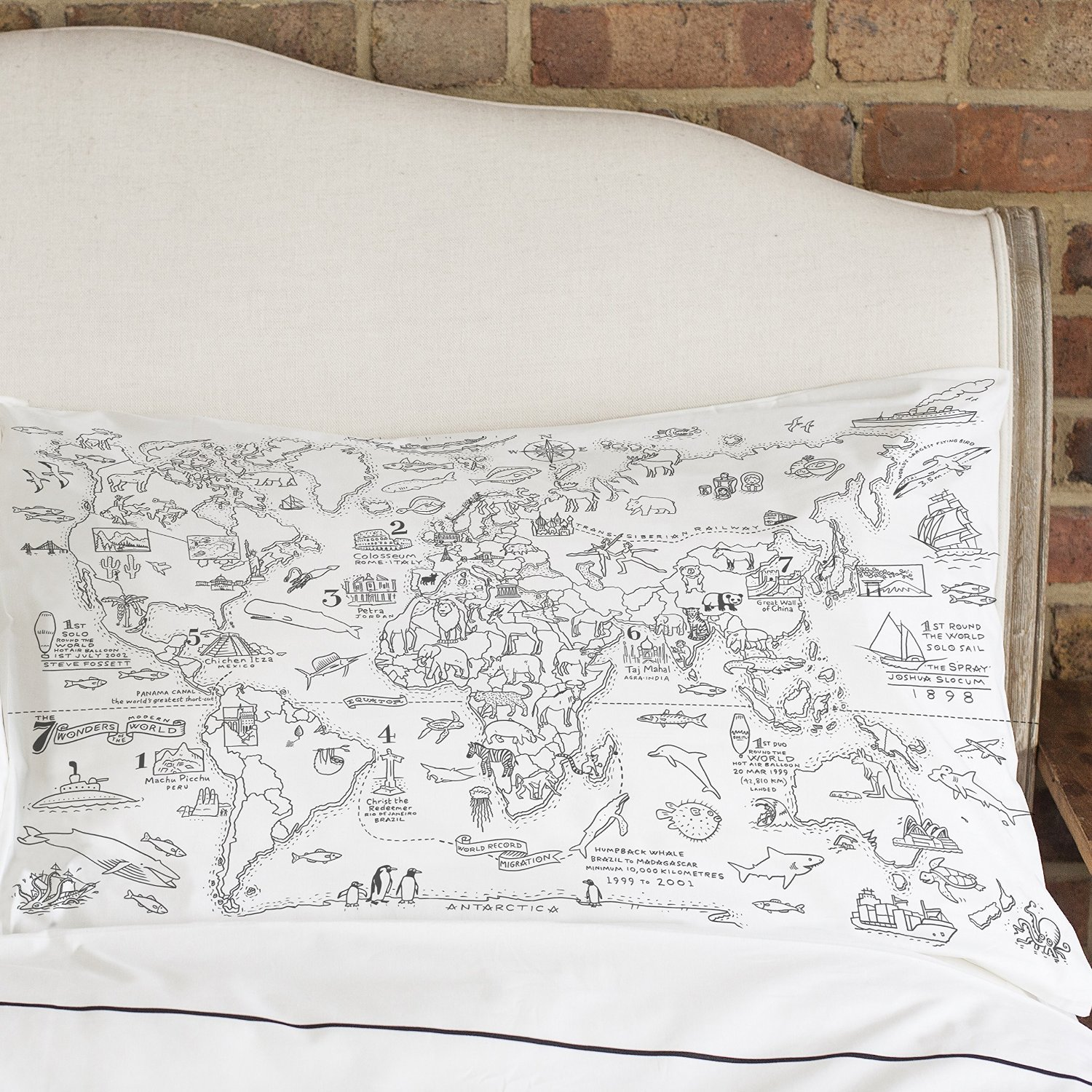 doodle world map pillowcase color your own pillow case coloring pillowcase ebay. Black Bedroom Furniture Sets. Home Design Ideas