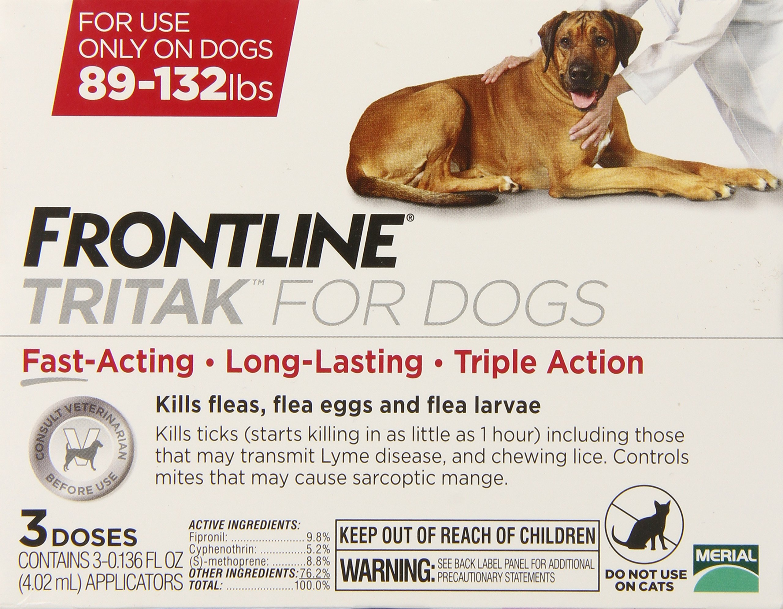 Merial Frontline Tritak Pest Control for Dogs and Puppies, 89 to 132-Pound