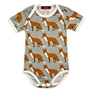 Milkbarn Short Sleeve Onesie (Orange Fox, 3-6 Months)