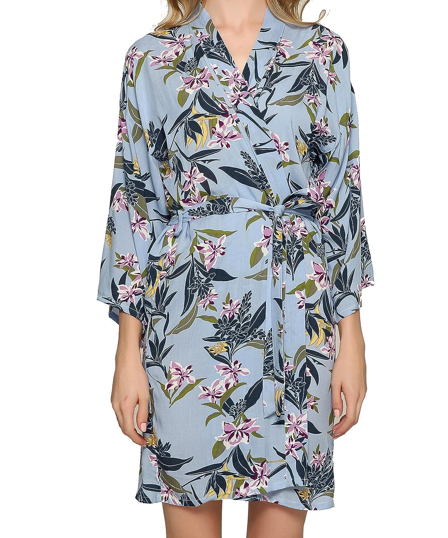 bluee Owiter Women Cotton Leaf Floral Robe Bride Robe Bridesmaid Kimono Robe