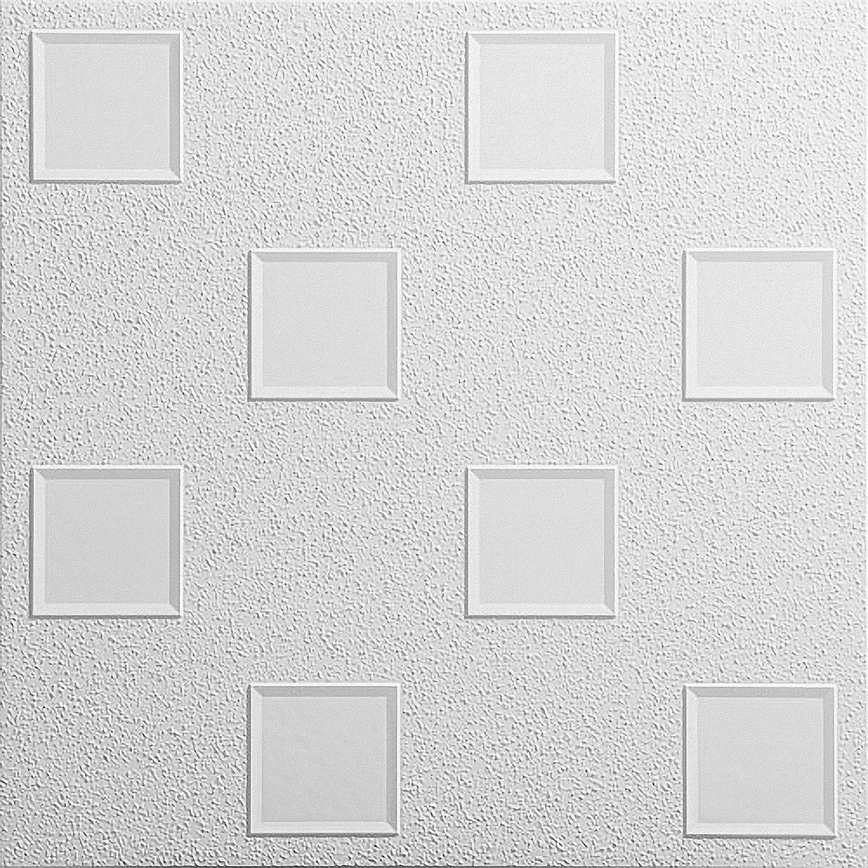 Azulejos de techo de poliestireno laminato Oktawa ( paquete de 72 pc / 18 metros cuadrados ) Blanco Kaseton