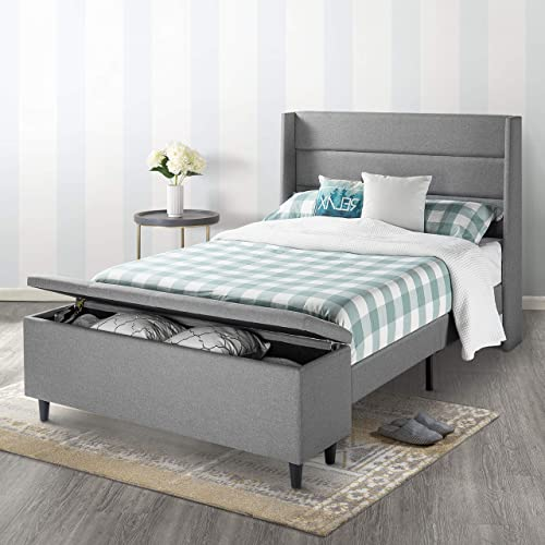 Mellow Platform Bed with Headboard and Bedside Storage Ottoman, Full, Gray