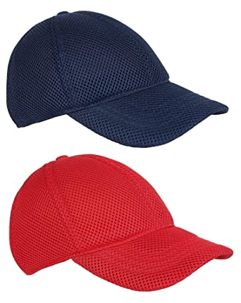 ebccb9fa6a8e G3E Men s Net Baseball Cap Blue   Red Free Size Pack of 2  Amazon.in   Clothing   Accessories