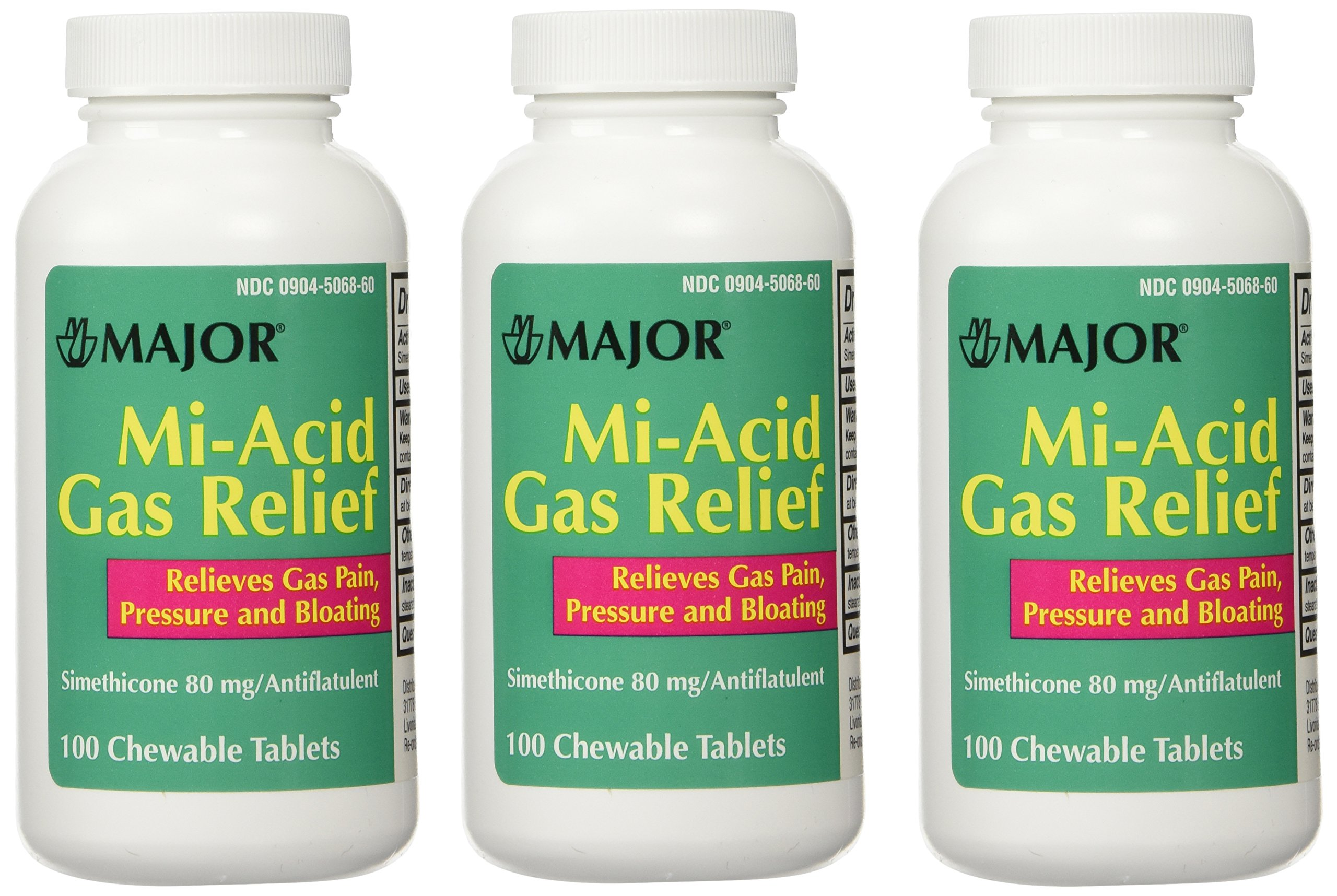 Simethicone 80mg Chewable Anti-Gas Generic for Mylanta Gas 3 PACK 3 X 100 ea. Total 300 Chewable Tablets