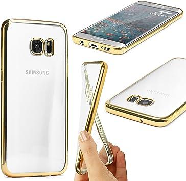 Urcover® Samsung Galaxy S7 Edge | Funda Carcasa Protectora Bordes con Espejo | TPU en Oro | Protección Completa Case Cover Smartphone Móvil Accesorio: Amazon.es: Electrónica