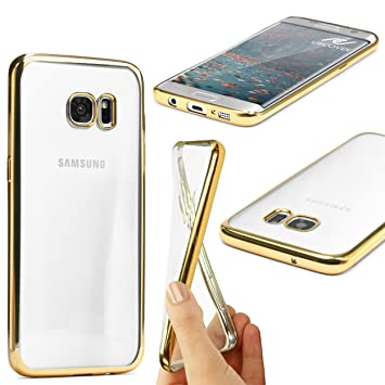 Urcover® Samsung Galaxy S7 Edge   Funda Carcasa Protectora Bordes con Espejo   TPU en Oro   Protección Completa Case Cover Smartphone Móvil Accesorio