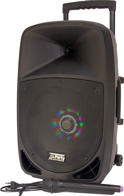 Party 12LED, Cargador con Sistema de Sonido con USB, 20 cm, 12 Pulgadas, 300 W, Bluetooth, FM y Micrófono