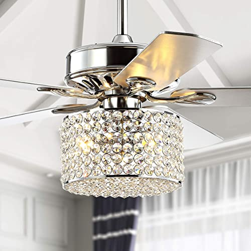 JONATHAN Y JYL9606A Transitional Brandy 3-Light Fandelier with Remote, Crystal Prism Drum LED Ceiling Fan, 52 , Chrome