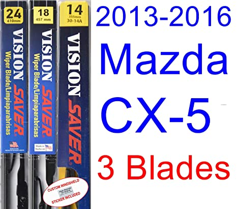 Amazon.com: 2013-2016 Mazda CX-5 Replacement Wiper Blade Set/Kit (Set of 3 Blades) (Saver Automotive Products-Vision Saver) (2014,2015): Automotive