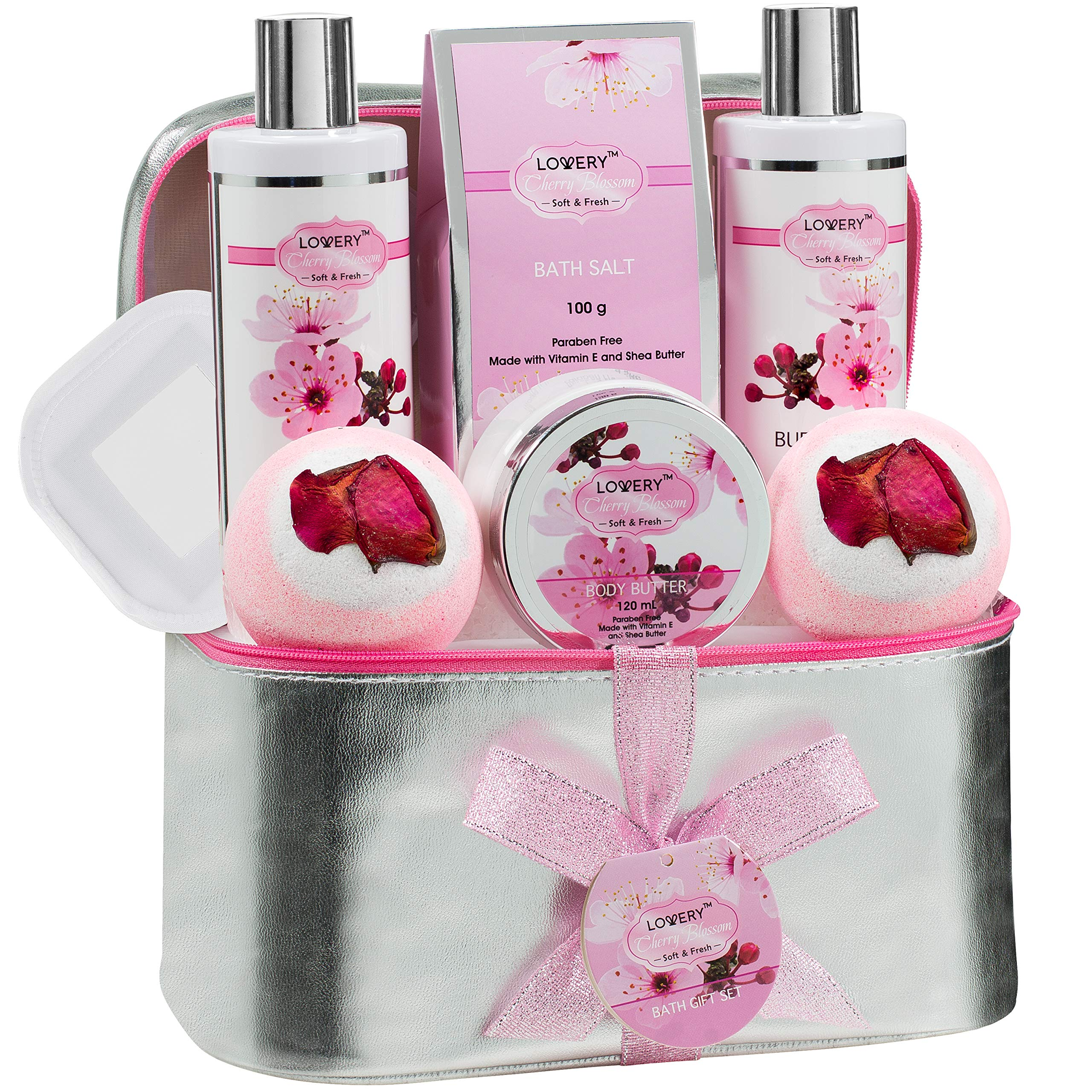 Easter Basket Bath and Body Gift Basket For Women – Cherry Blossom Home Spa Set with Fragrant Lotions, 2 Extra Large Bath Bombs, Mirror and Silver Reusable Travel Cosmetics Bag and More