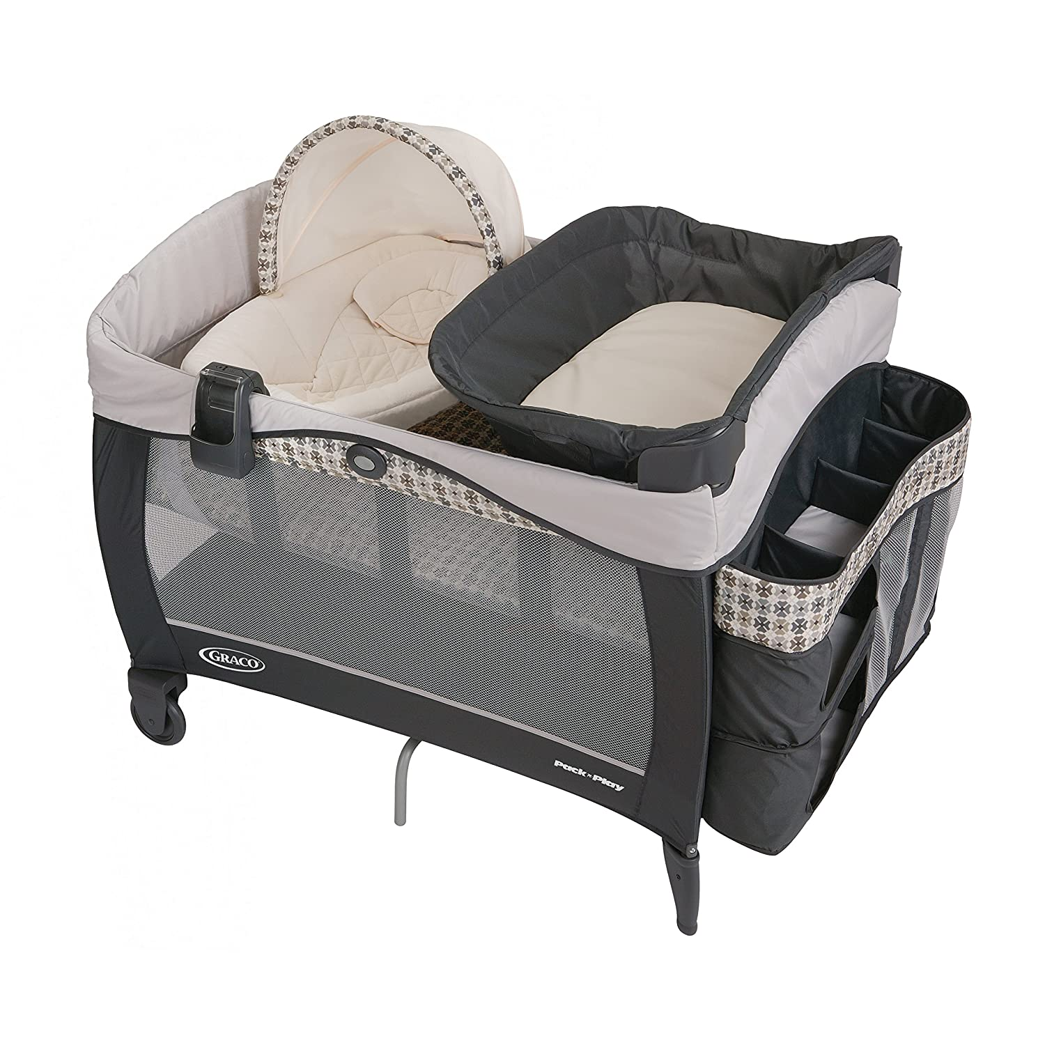 Graco Pack n Play Playard Includes Elite Newborn Napper, Full-Size Infant Bassinet, and Diaper Changer, Vance